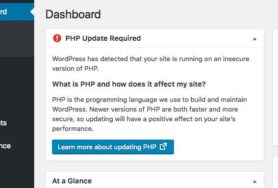 WordPress Dashboard new feature PHP Update Required