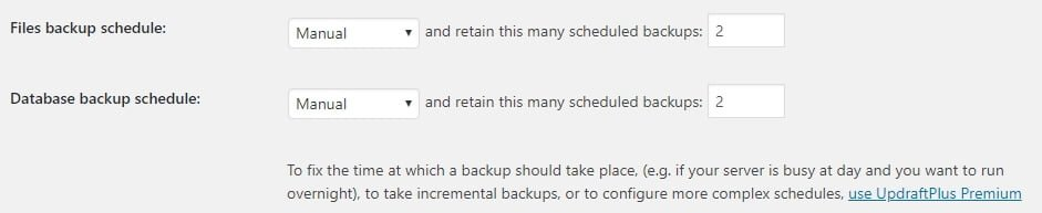 Files backup Schedule UpdraftPlus
