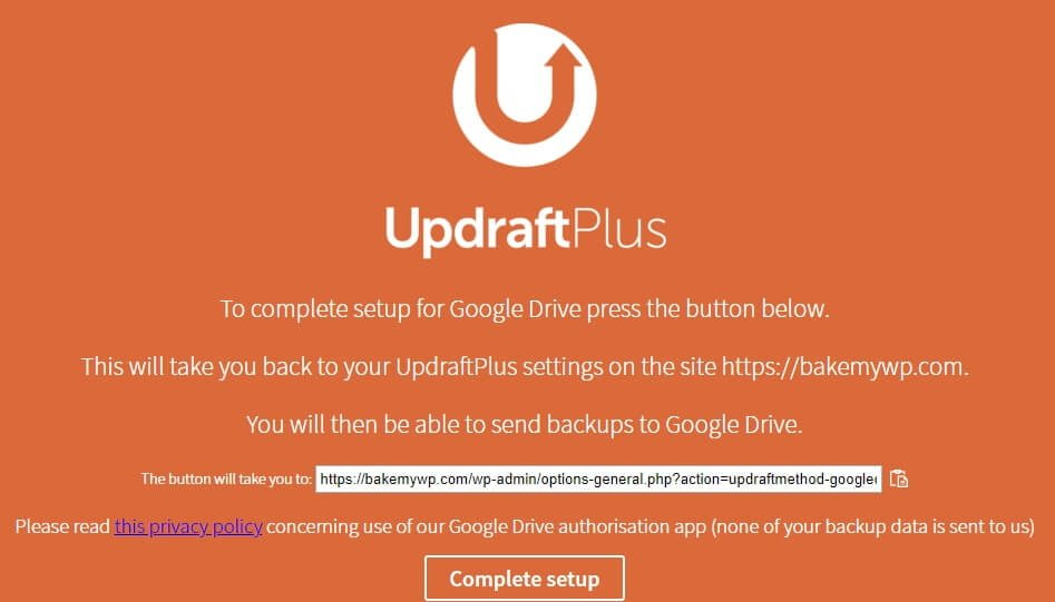 WordPress Google Drive Backup with the UpdraftPlus plugin